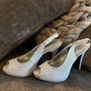 Lulu Townsend Silver rhinestone heels